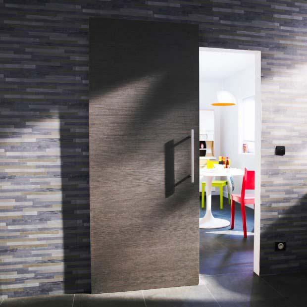Porte coulissante grise for Couleur de porte interieur