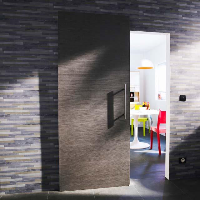 Porte coulissante grise for Porte de chambre coulissante castorama