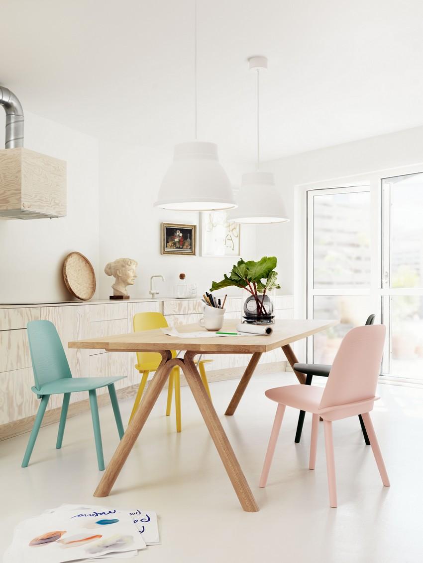Table avec chaises Muuto de couleurs différentes