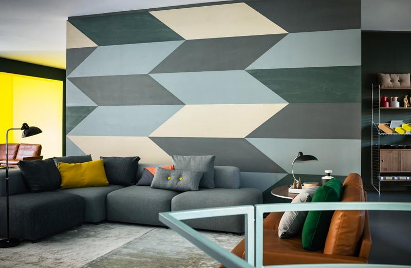 deco mur peint avec des paralllogrammes - Decoration De Mur Interieur En Peinture