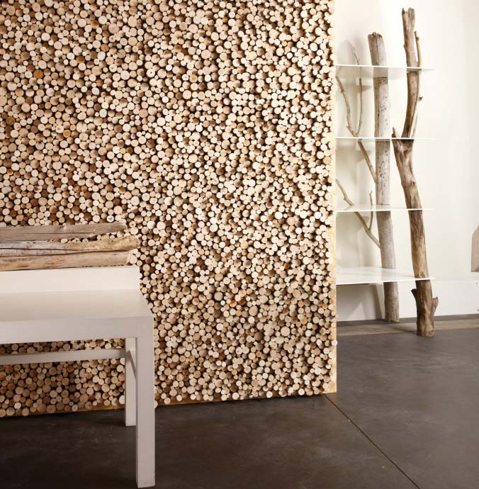 Mur en bois flotte