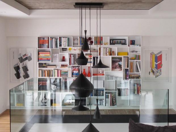 id e d co mur avec une bibliotheque cubit. Black Bedroom Furniture Sets. Home Design Ideas
