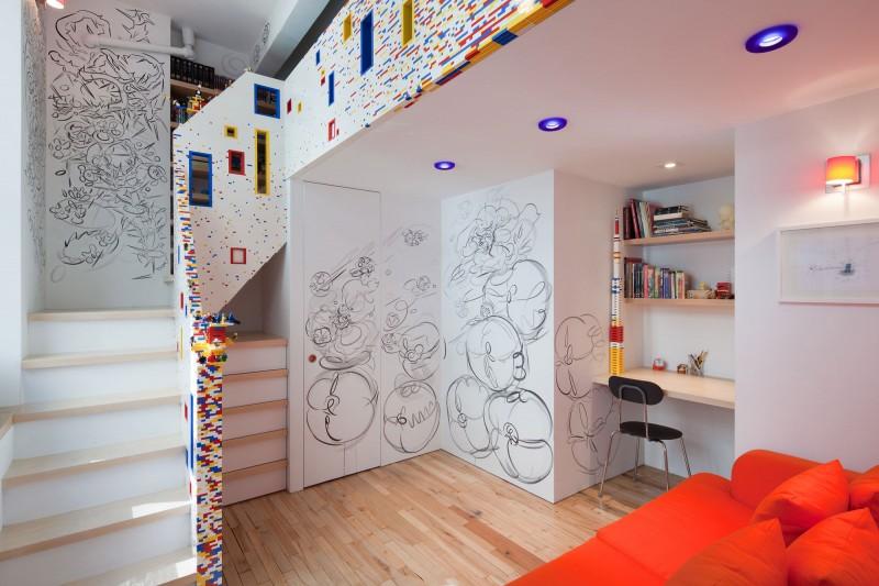 Garde corps et rampe d'escalier en LEGO