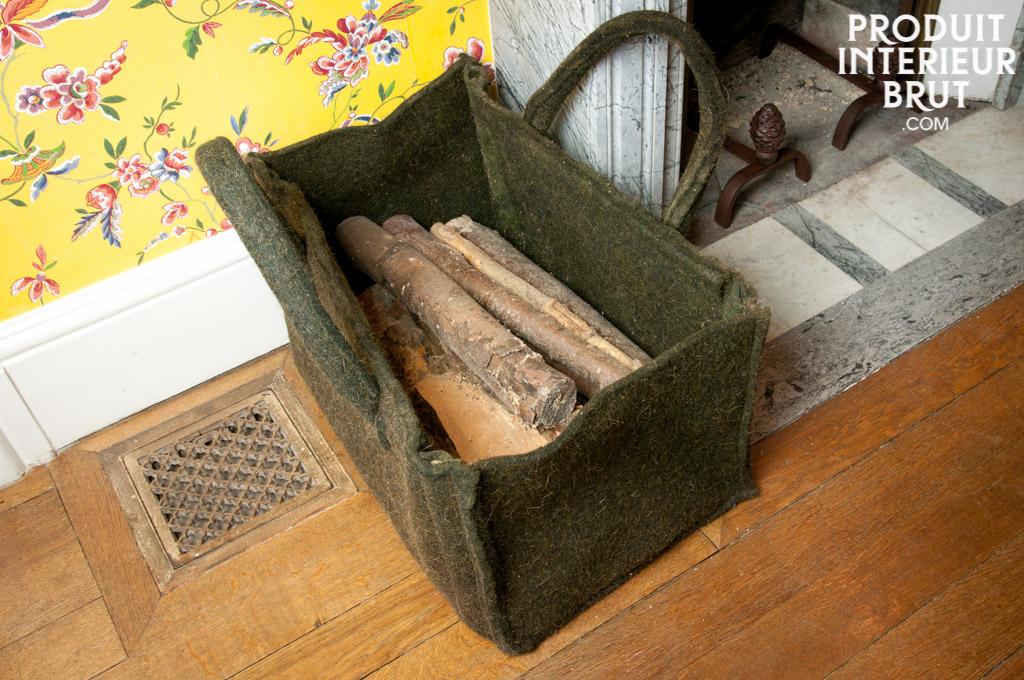 panier bois en feutre vert. Black Bedroom Furniture Sets. Home Design Ideas