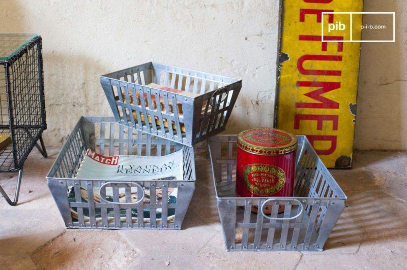 Panier à bûches en métal pour déco industrielle