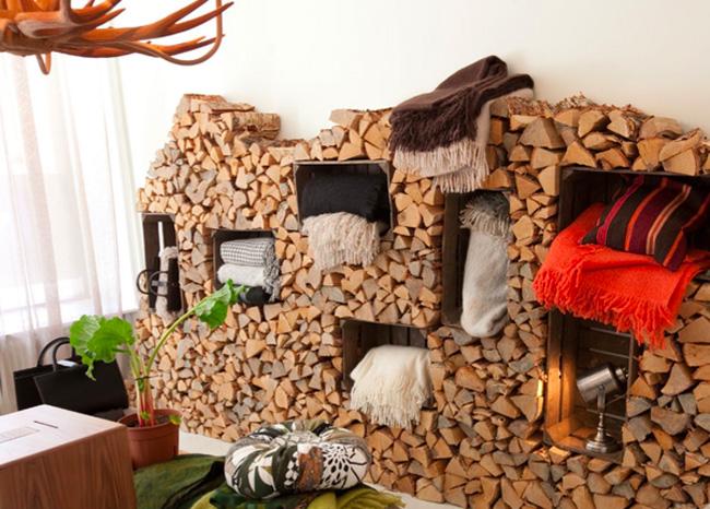 tas de bois et rangements. Black Bedroom Furniture Sets. Home Design Ideas