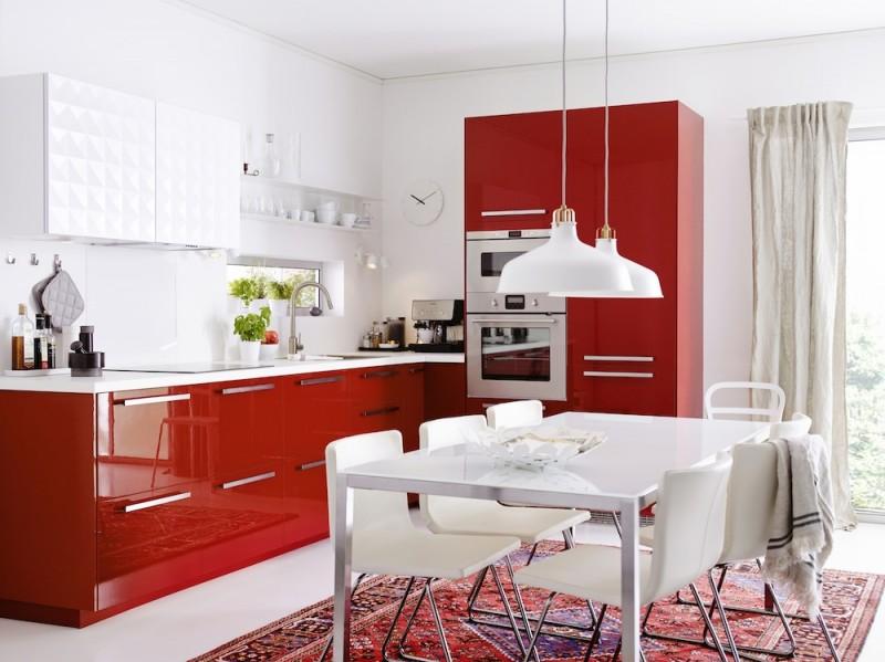 Cuisine Ikea Metod avec façades rouge RINGHULT