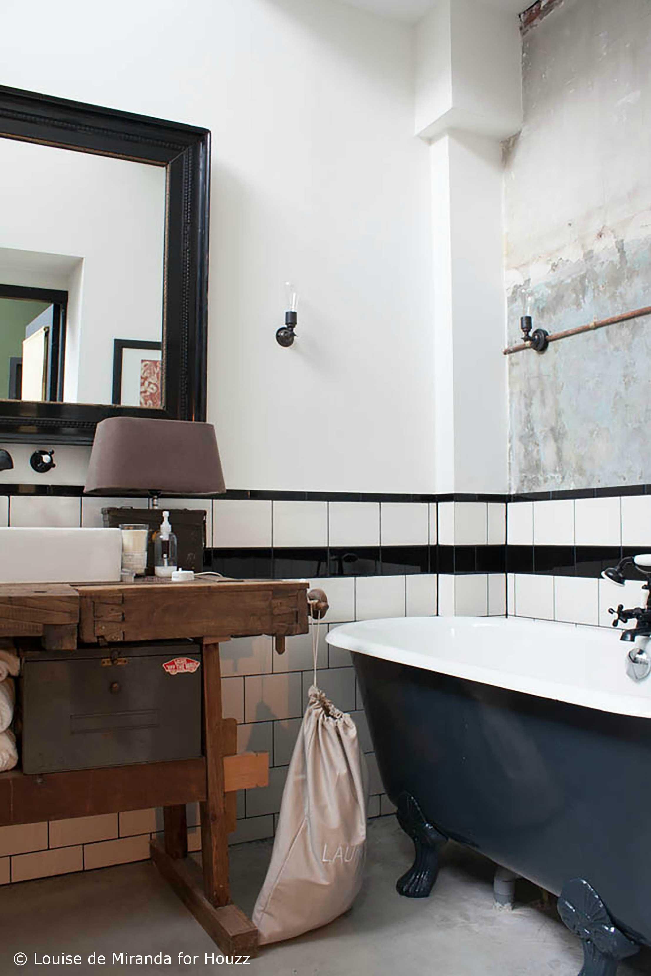 Meuble de salle de bains avec ancien tabli - Etabli salle de bain ...