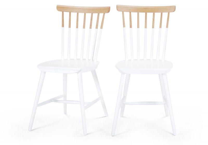 Chaise bicolore blanc et bois