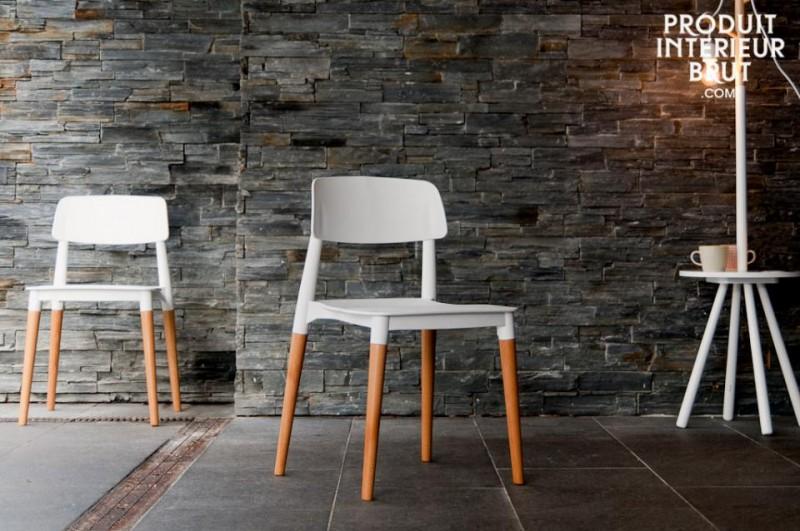 Chaise deco scandinave blanc et bois