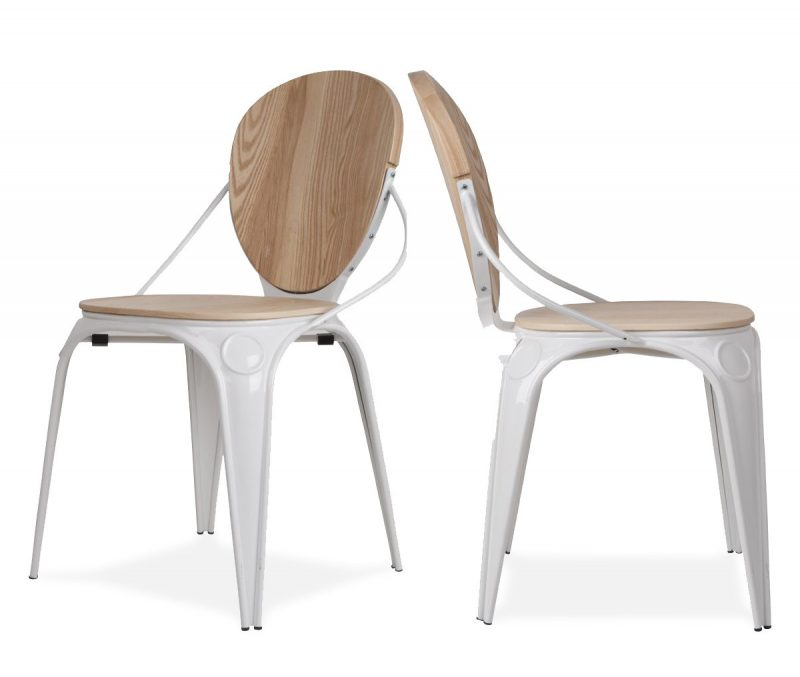 chaise scandinave en bois brut et m tal blanc. Black Bedroom Furniture Sets. Home Design Ideas