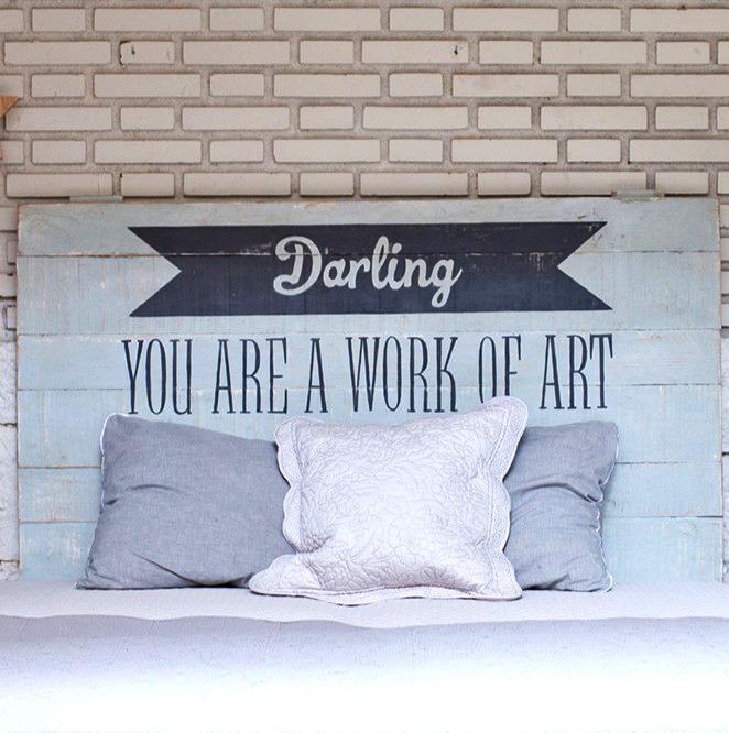 Tête de lit bleu ciel Darling