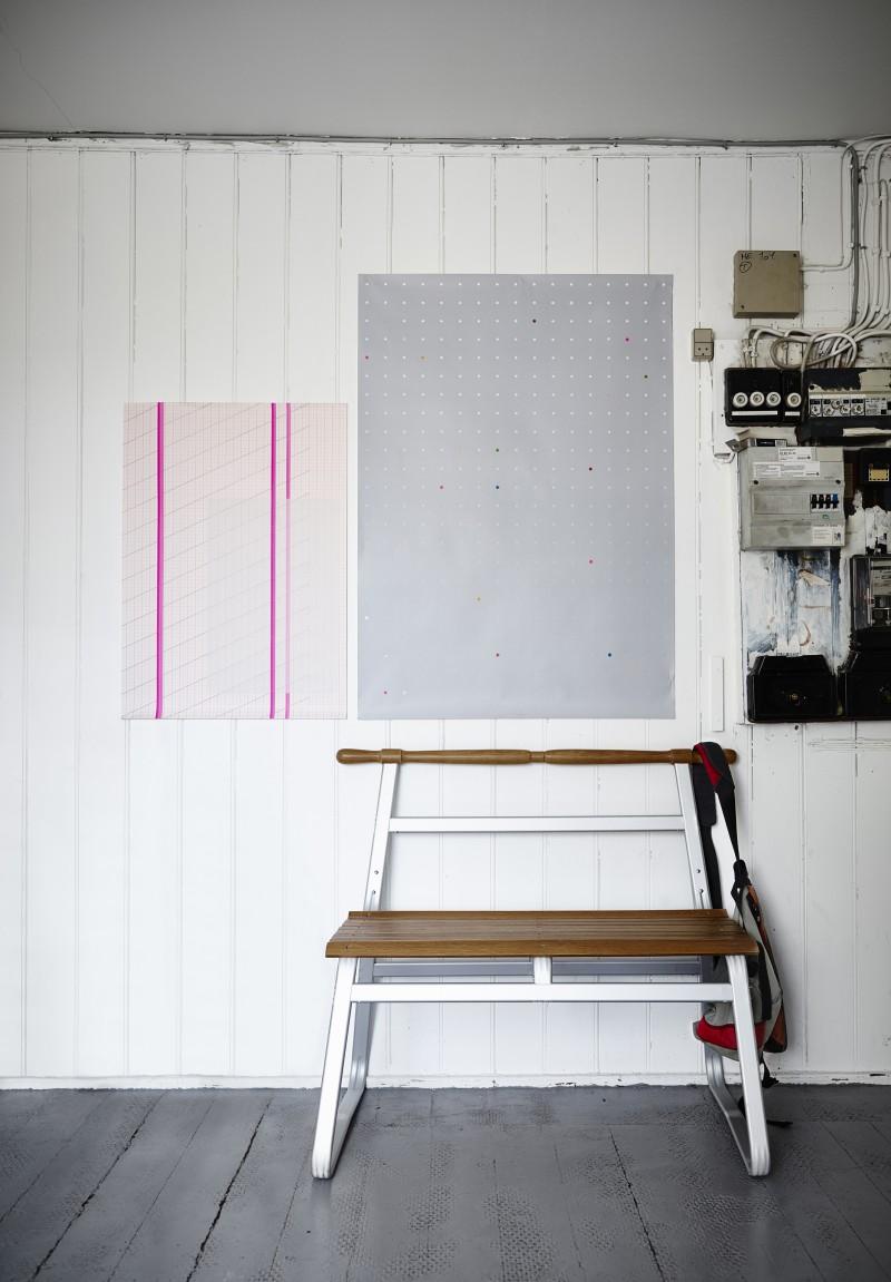 Banc Ikea blanc et bois