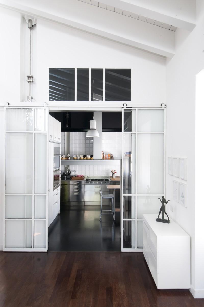 Cuisine avec portes coulissantes