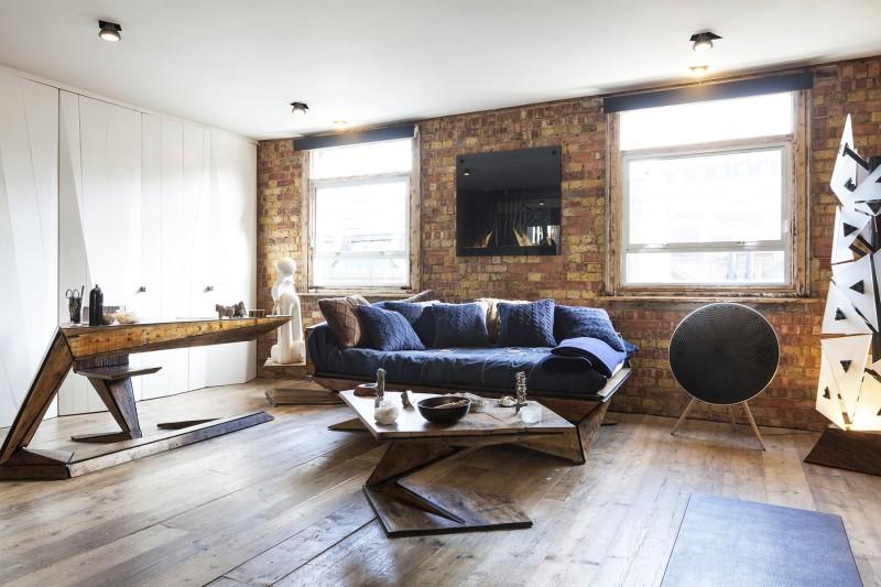 street loft londres par michaelis boyd salon avec canap bleu - Deco Salon Avec Canape Bleu