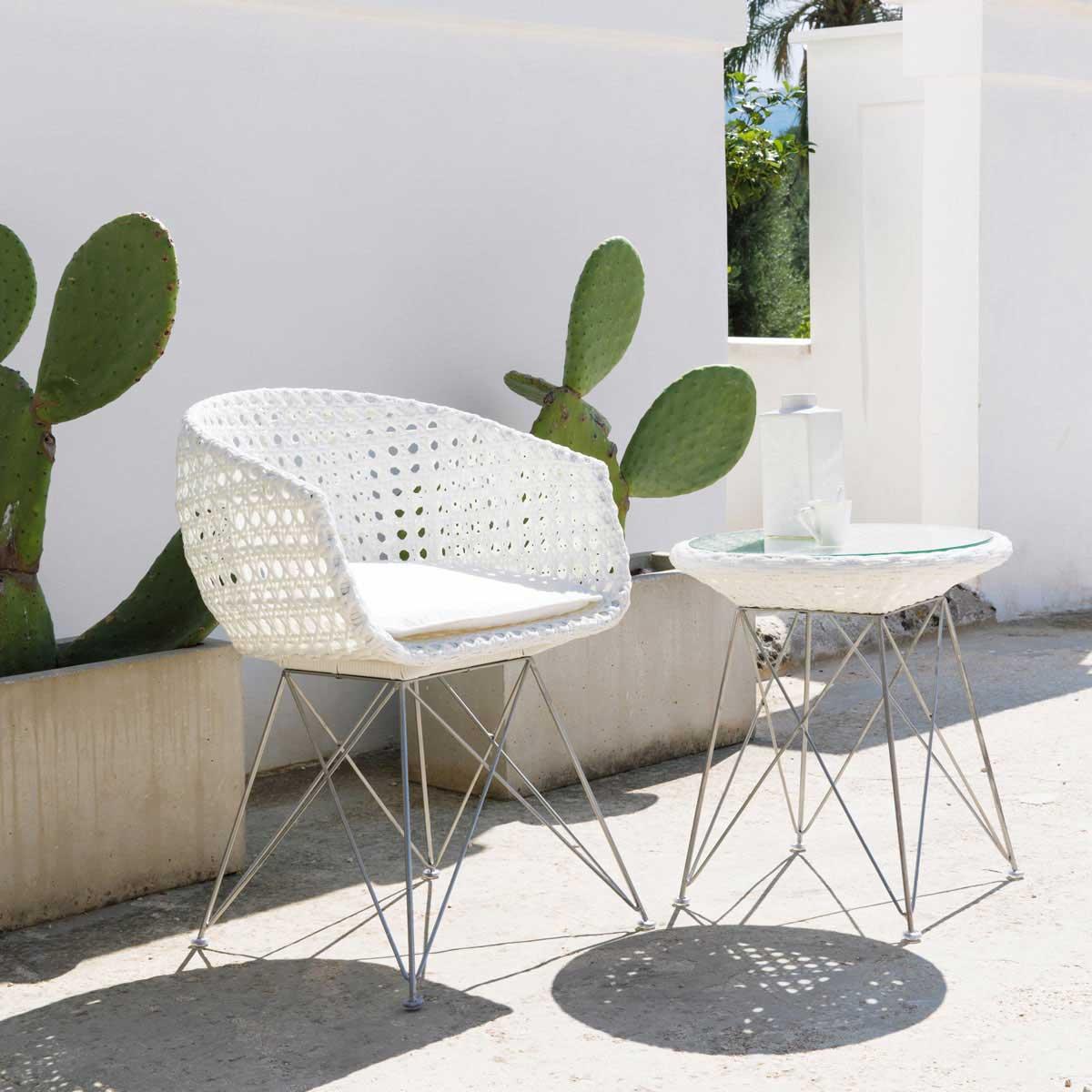 Fauteuil de jardin tresse blanc for Salon jardin tresse