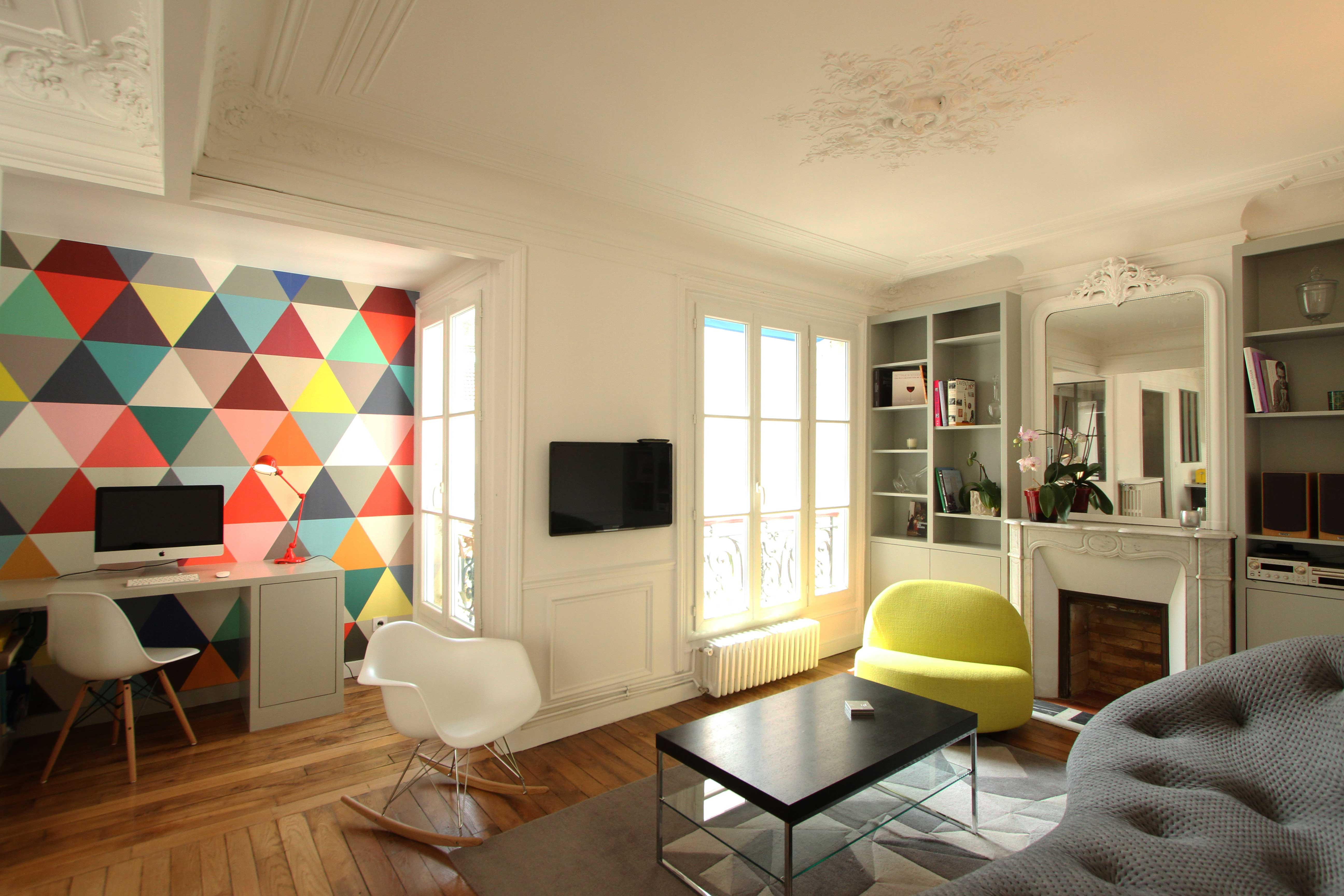 R novation d 39 un appartement haussmannien par camille hermand - Decoration moderne appartement ...