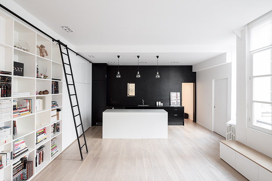 Cuisine avec mur noir - Acheter un loft a paris ...