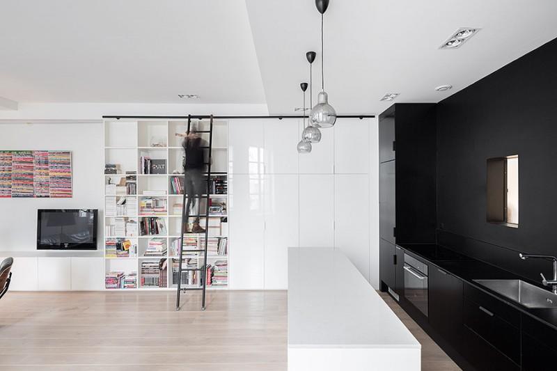 Bibliothèque  avec échelle