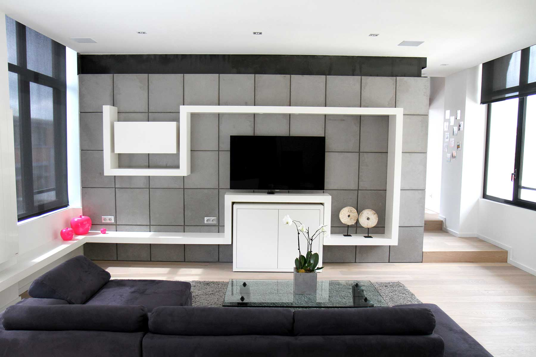 d co mur tv du loft. Black Bedroom Furniture Sets. Home Design Ideas