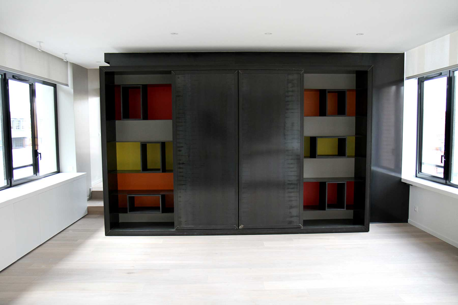 meuble tv originale en m tal. Black Bedroom Furniture Sets. Home Design Ideas