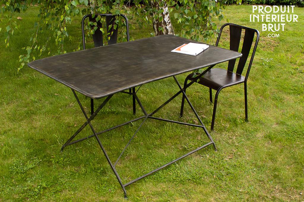 Table de jardin en m tal - Table de jardin aluminium brosse ...