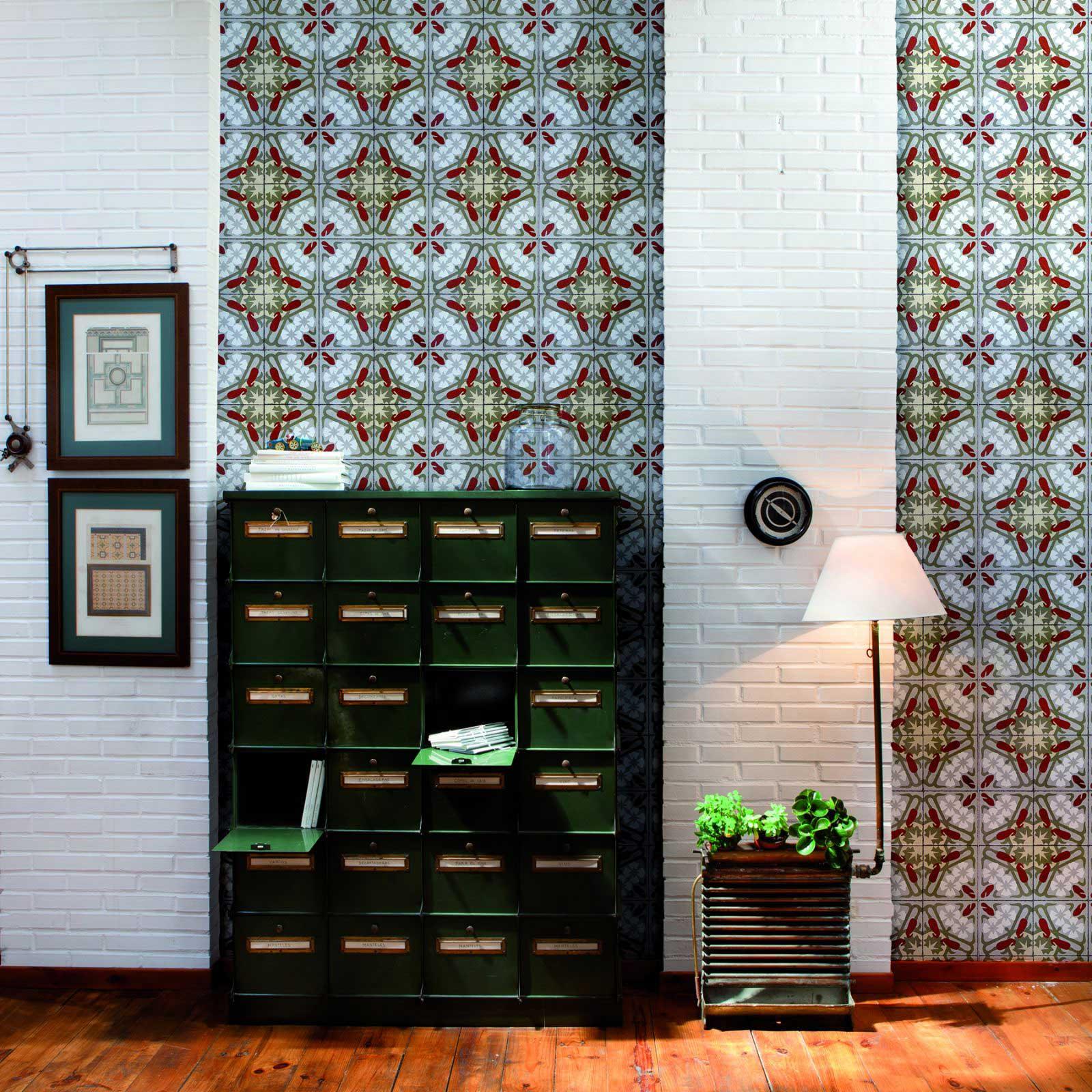 papier peint motifs carreau de ciment. Black Bedroom Furniture Sets. Home Design Ideas