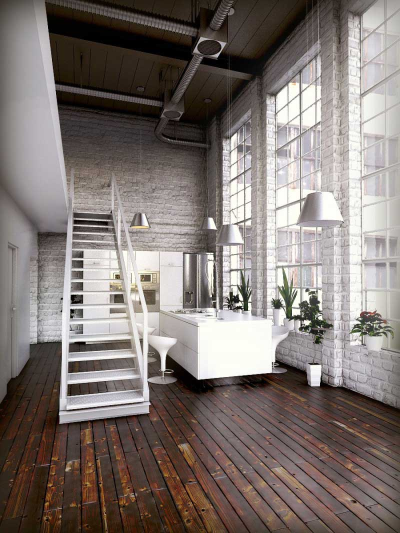 rendu 3d loft industriel - Chambre Loft Industriel