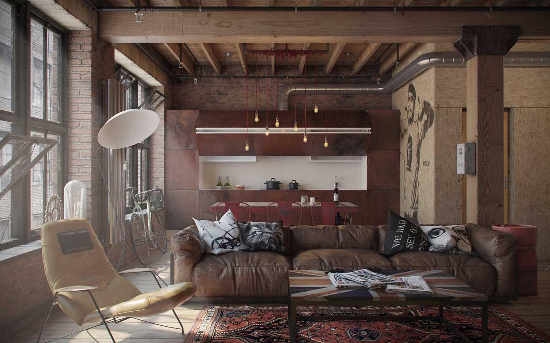 Déco intérieure en rendu 3D dans un loft