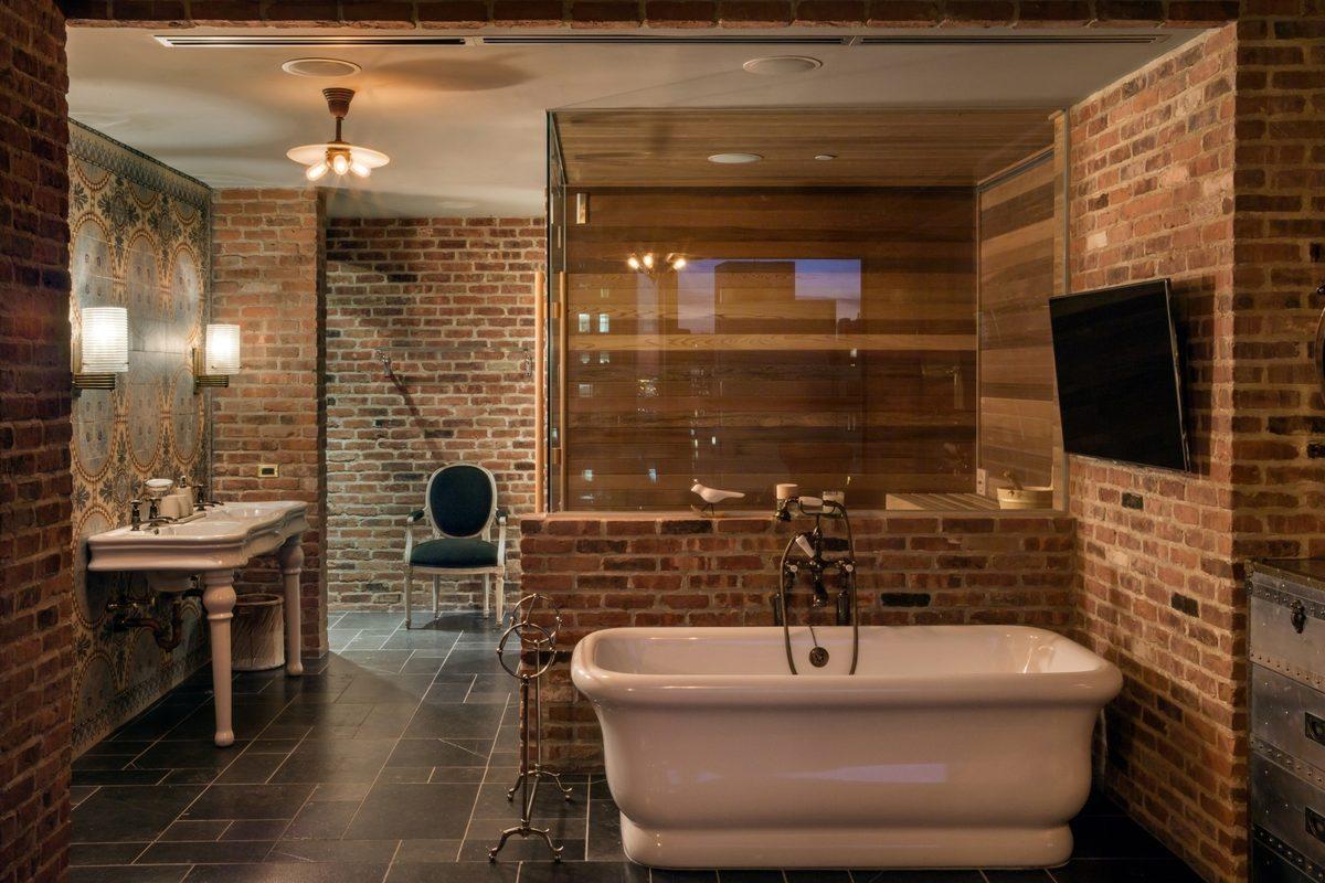 salle de bains avec briques apparentes. Black Bedroom Furniture Sets. Home Design Ideas