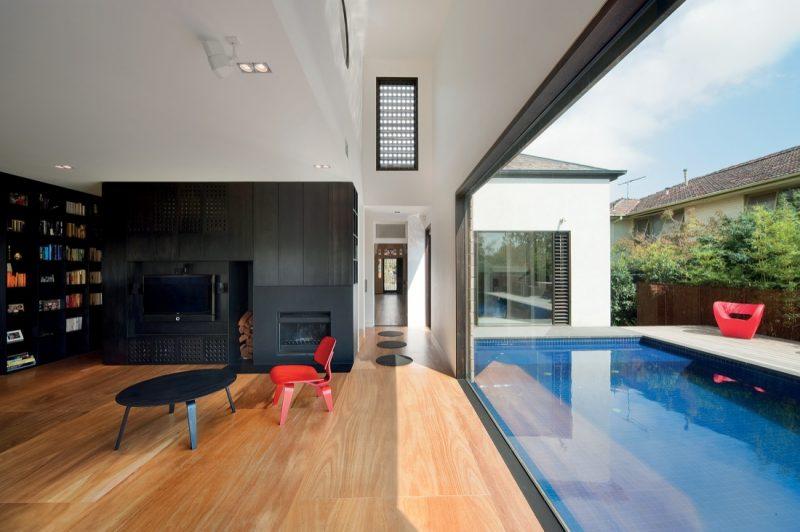 photo de maison avec piscine - Maison Moderne Avec Grande Baie Vitree