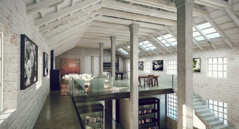 35 lofts industriels cr s avec un logiciel de rendu 3d. Black Bedroom Furniture Sets. Home Design Ideas