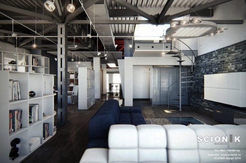 design de loft en 3d - Chambre Loft Industriel