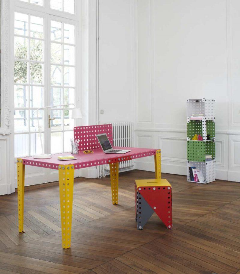 Bureau Meccano rose et jaune