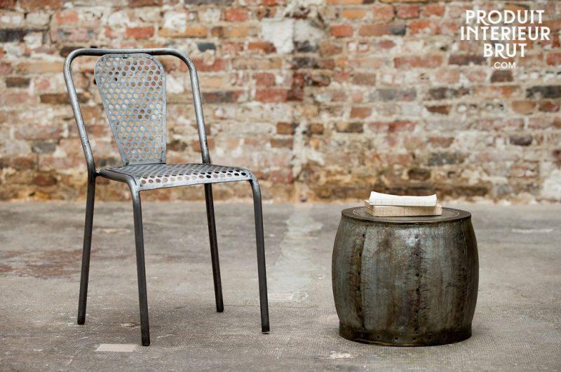 Chaise en métal déco industrielle
