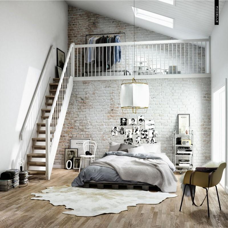 chambre dco scandinave dans un loft - Chambre Loft Industriel