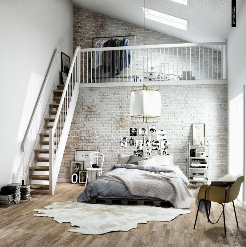 chambre d co scandinave dans un loft. Black Bedroom Furniture Sets. Home Design Ideas