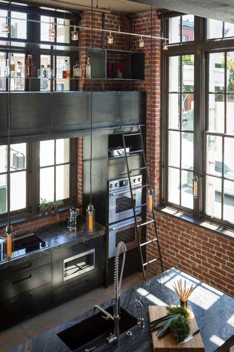 Meuble Cuisine Four Et Micro Onde cuisine en acier dans un loft à san francisco
