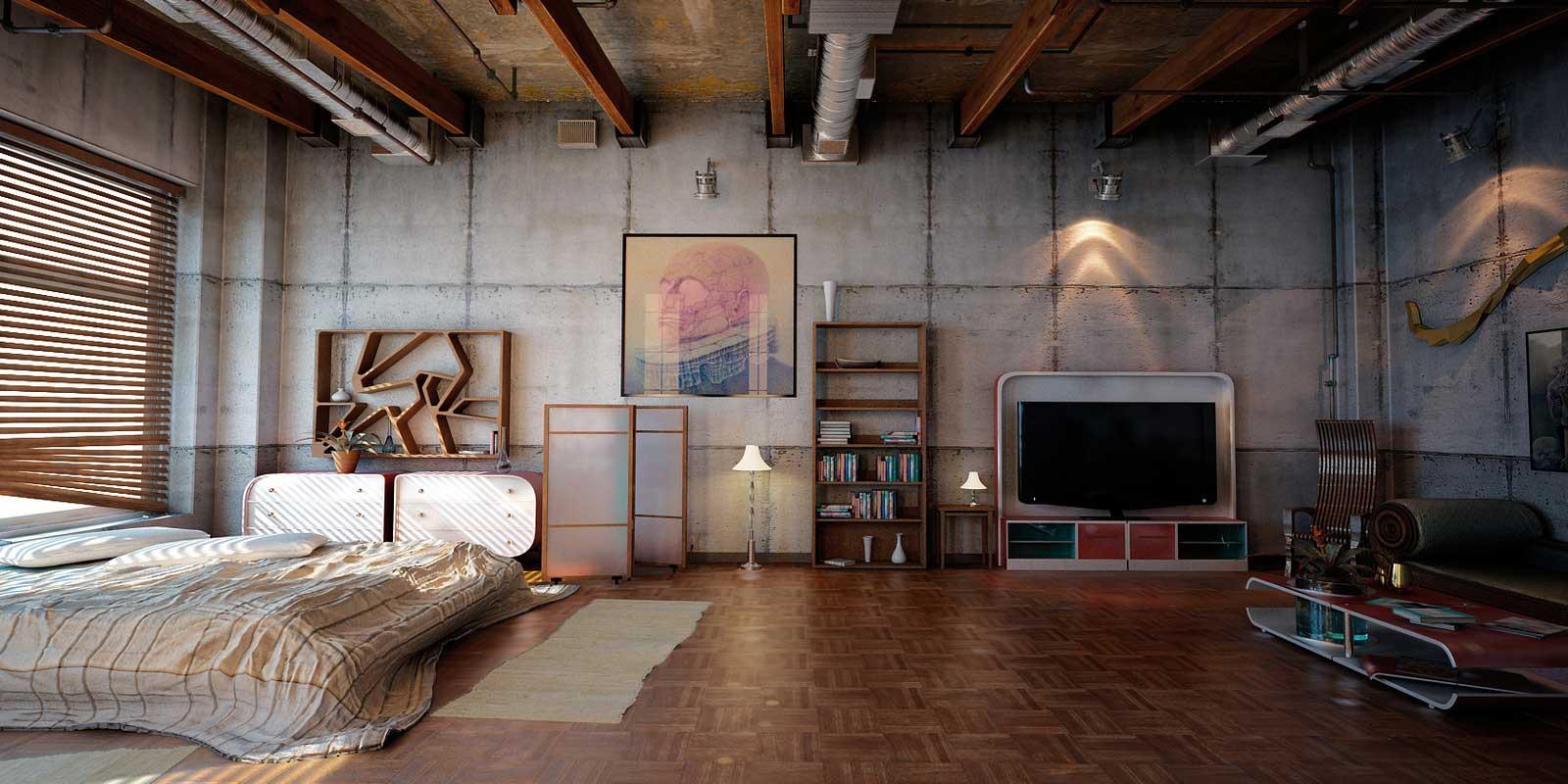 Bien-aimé 35 lofts industriels créés avec un logiciel de rendu 3D RQ58