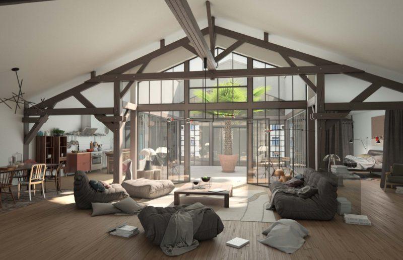 Loft autour d'un patio central