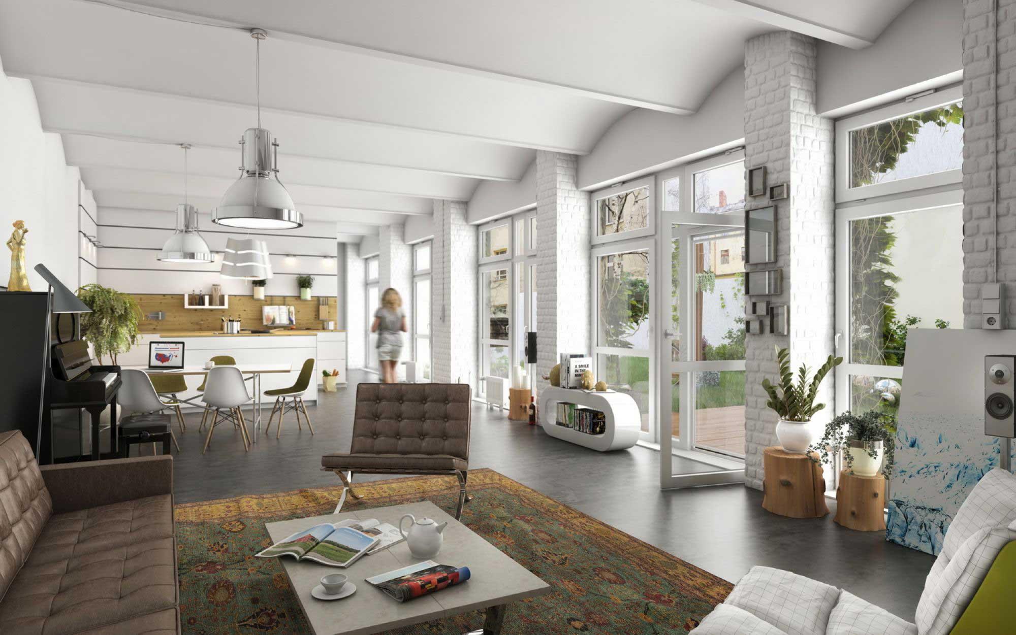 loft berlien en rendu 3d. Black Bedroom Furniture Sets. Home Design Ideas