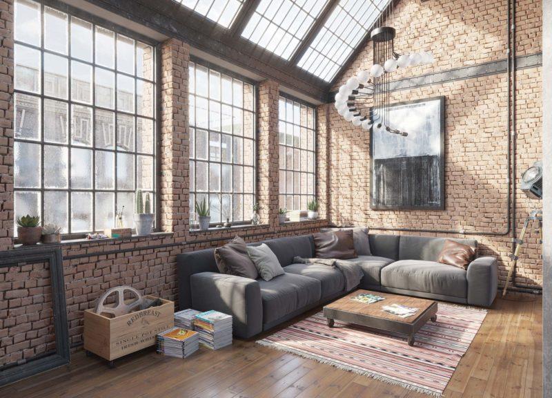 Loft industriel 3d briques verrieres