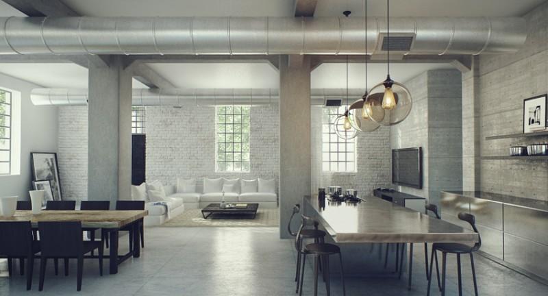 Loft avec briques blanches