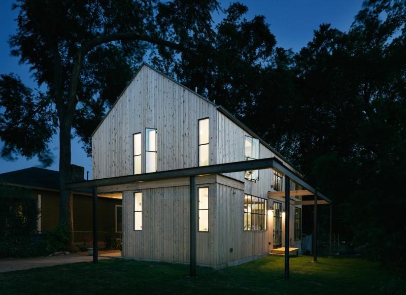 Maison esprit loft avec bardage en bois