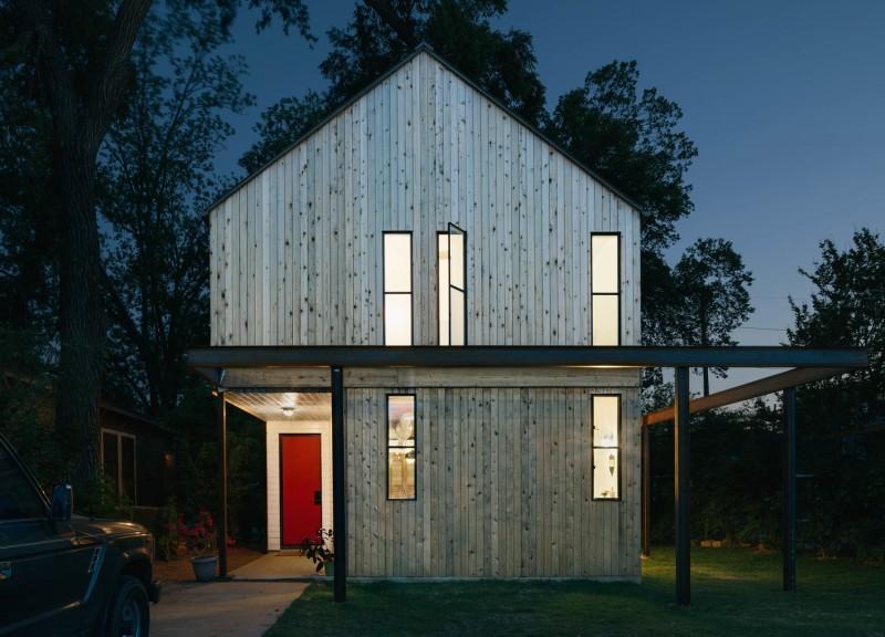 Façade de maison en bois
