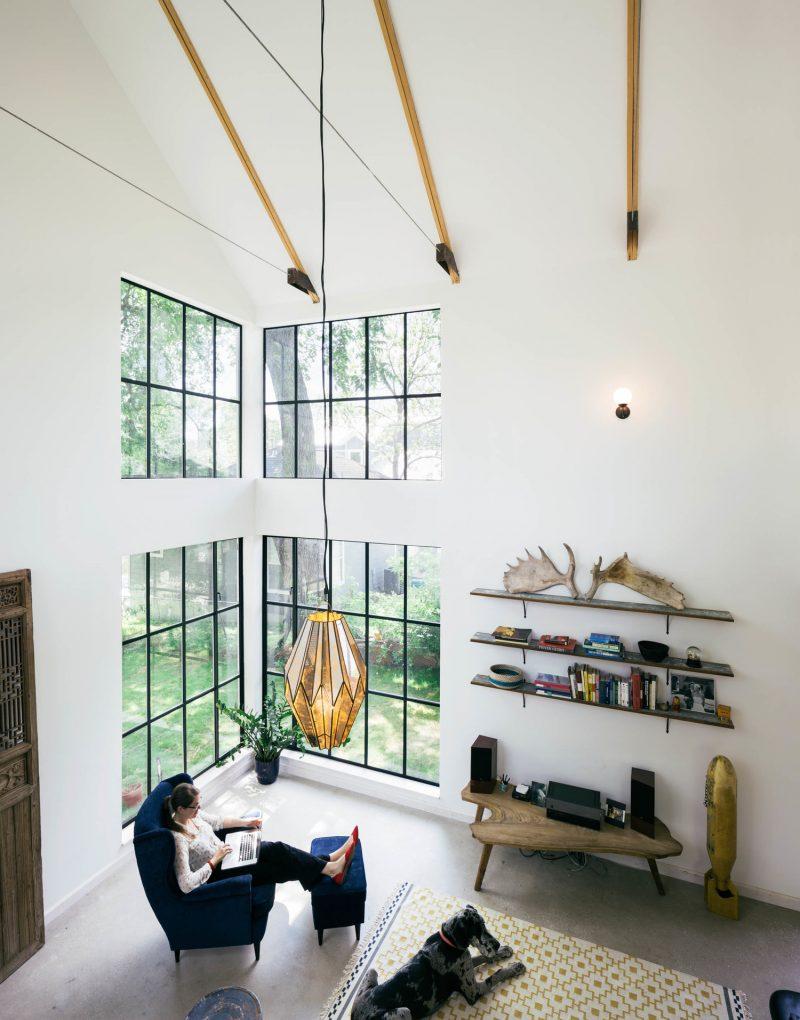 Maison fenêtres style verrière d'atelier