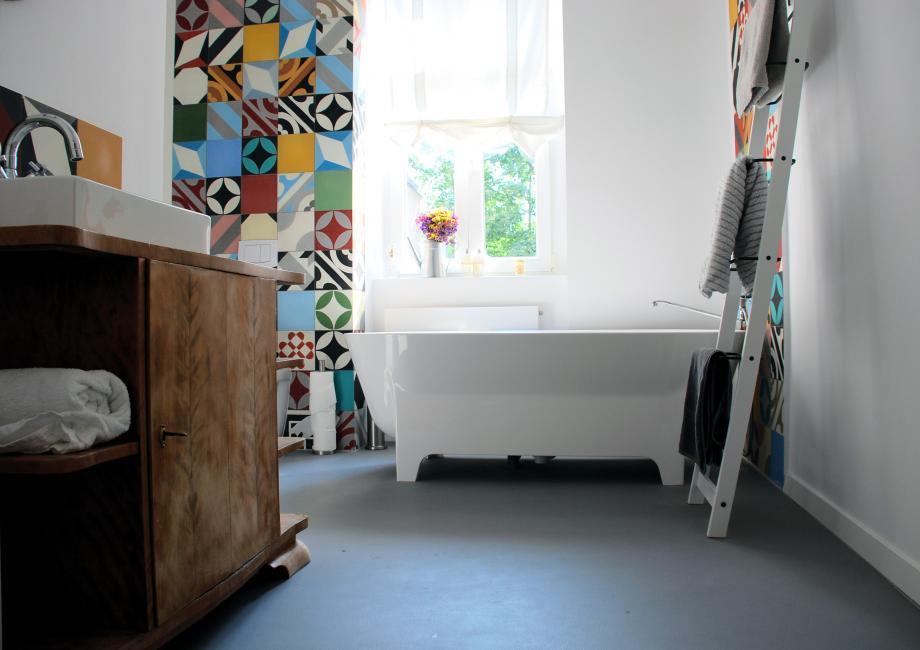mlange de carreaux de ciment dans une salle de bains - Carreaux De Ciment Salle De Bain