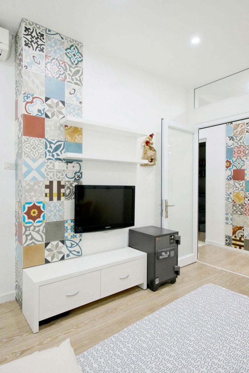 Chambre avec déco carreaux de ciment