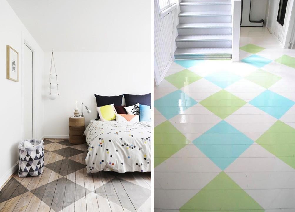 parquet avec peinture damier atypique. Black Bedroom Furniture Sets. Home Design Ideas