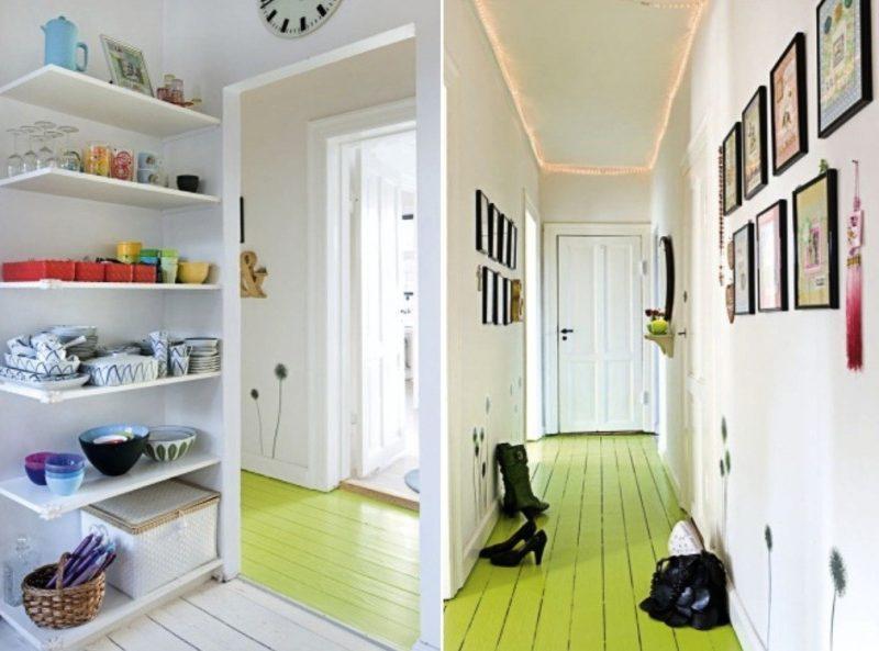 Parquet vert pomme dans un couloir